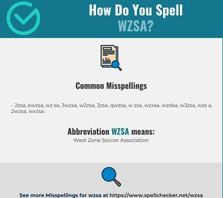 Correct spelling for WZSA