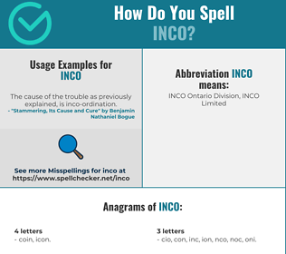Correct spelling for INCO