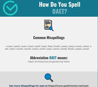 Correct spelling for OAET