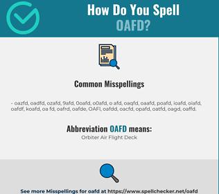 Correct spelling for OAFD