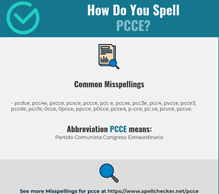 Correct spelling for PCCE