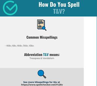 Correct spelling for T&V