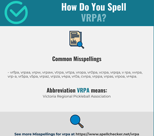 Correct spelling for VRPA