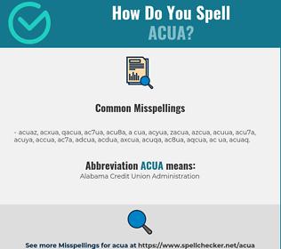 Correct spelling for ACUA