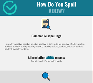 Correct spelling for ADDW