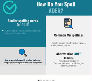 Correct spelling for ADER