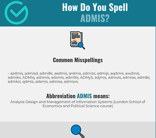 Correct spelling for ADMIS