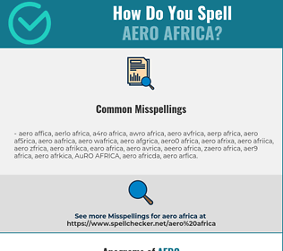 Correct spelling for AERO AFRICA