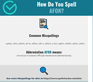 Correct spelling for AFON
