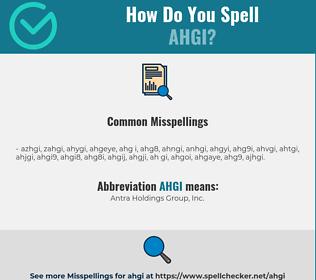 Correct spelling for AHGI