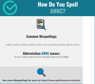 Correct spelling for ANNC