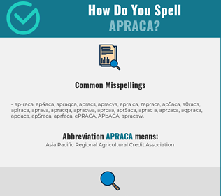 Correct spelling for APRACA