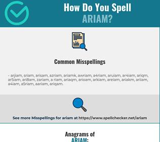 Correct spelling for ARIAM