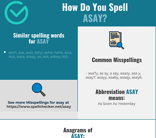 Correct spelling for ASAY