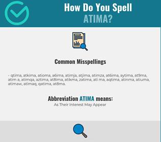 Correct spelling for ATIMA