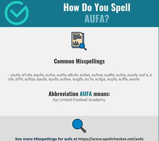 Correct spelling for AUFA