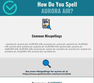 Correct spelling for AURORA AIR
