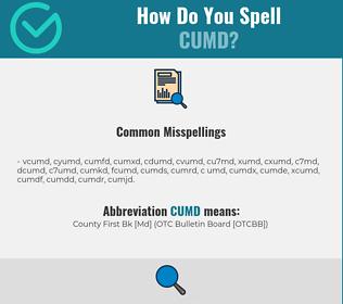 Correct spelling for CUMD