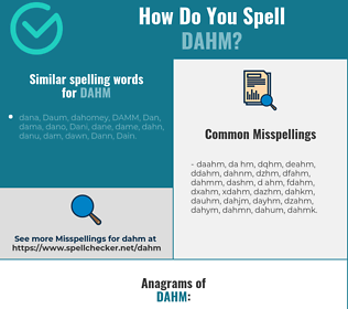 Correct spelling for DAHM