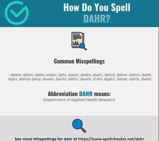 Correct spelling for DAHR