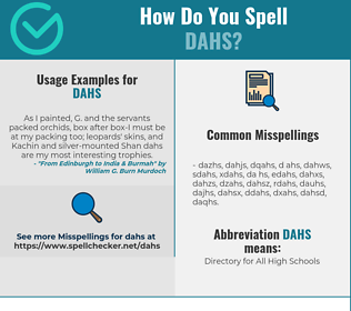 Correct spelling for DAHS