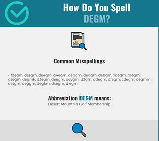 Correct spelling for DEGM