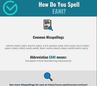 Correct spelling for EANI