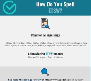 Correct spelling for ETSW