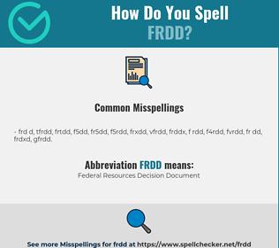 Correct spelling for FRDD