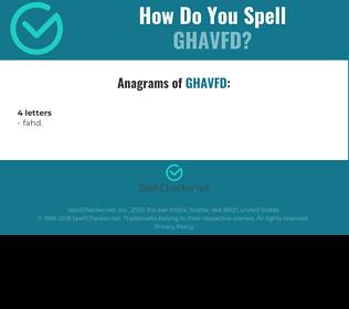 Correct spelling for GHAVFD
