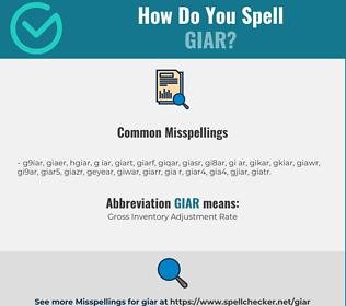 Correct spelling for GIAR
