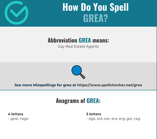 Correct spelling for GREA