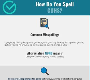 Correct spelling for GUHS