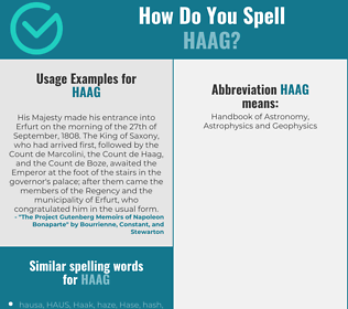 Correct spelling for HAAG
