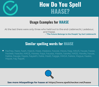Correct spelling for HAASE