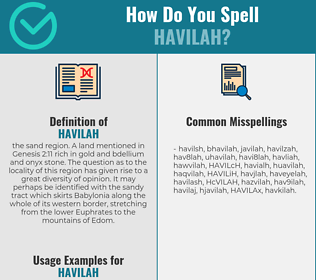 Correct spelling for HAVILAH