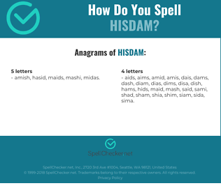 Correct spelling for HISDAM