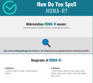 Correct spelling for HOMA-R