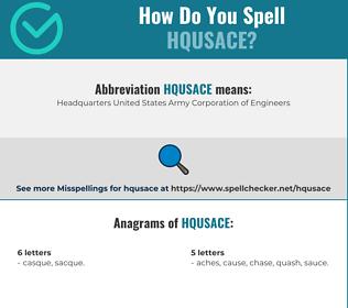 Correct spelling for HQUSACE [Infographic] | Spellchecker net