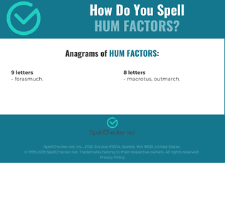 Correct spelling for HUM FACTORS
