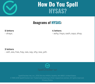 Correct spelling for HYSAS