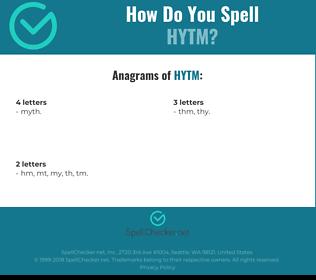 Correct spelling for HYTM