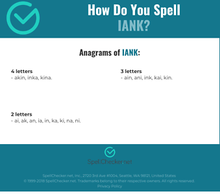 Correct spelling for IANK