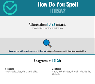 Correct spelling for IDISA
