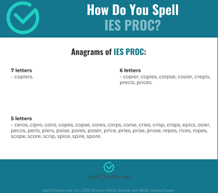 Correct spelling for IES PROC