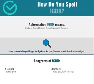 Correct spelling for IGDR