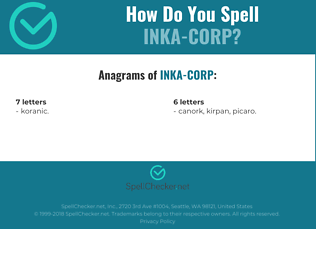 Correct spelling for INKA-CORP