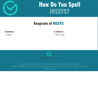 Correct spelling for INSSYS