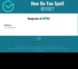 Correct spelling for IRYRF
