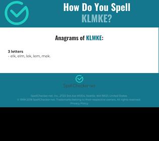 Correct spelling for KLMKE